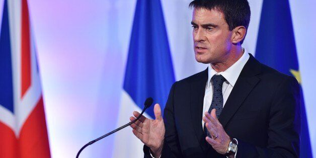 French Prime Minister Manuel Valls delivers a speech at the Guildhall in London, on October 6, 2014....