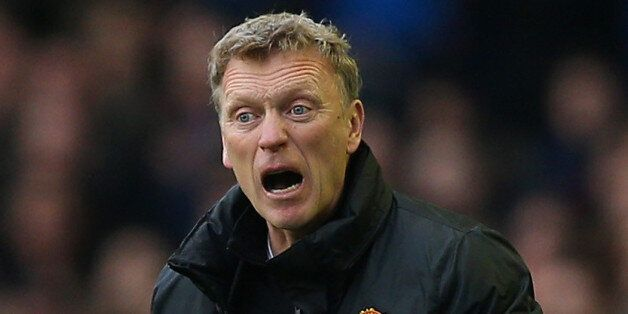 LIVERPOOL, ENGLAND - APRIL 20: David Moyes manager of Manchester United gives instruction during the...