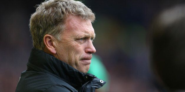 LIVERPOOL, ENGLAND - APRIL 20: David Moyes manager of Manchester United looks on during the Barclays...