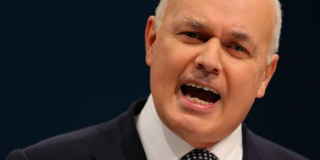 The secretary of State for Work and Pensions Iain Duncan Smith delivers his speech to delegates on the...
