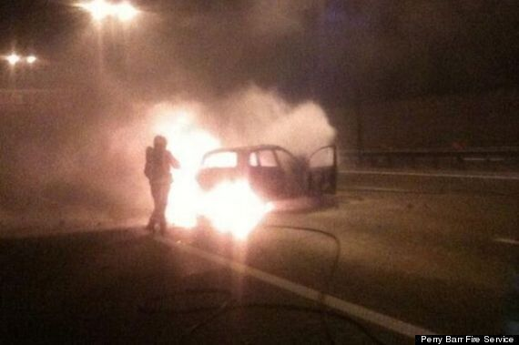 Fireball Engulfs Car In M6 Crash, But Driver Has Lucky Escape