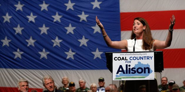 US Senate Democratic candidate and Kentucky Secretary of State Alison Lundergan Grimes speaks at a campaign...