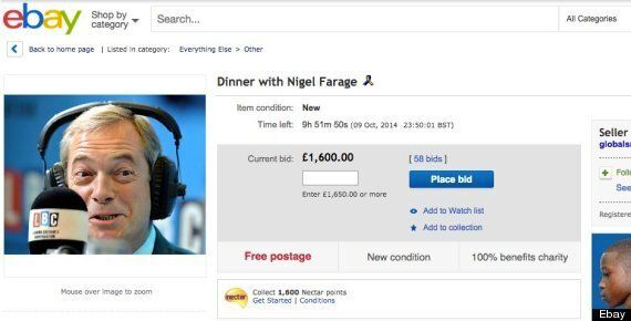 Ukip's Nigel Farage Auctioned Off For