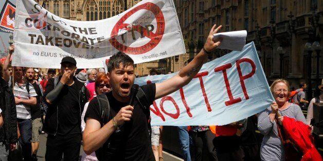 12/07/2014 - Protestors against the EU-US trade deal (TTIP - Transatlantic Trade and Investment Partnership)...