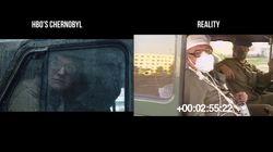Este vídeo compara imagens da minissérie 'Chernobyl' com cenas reais do