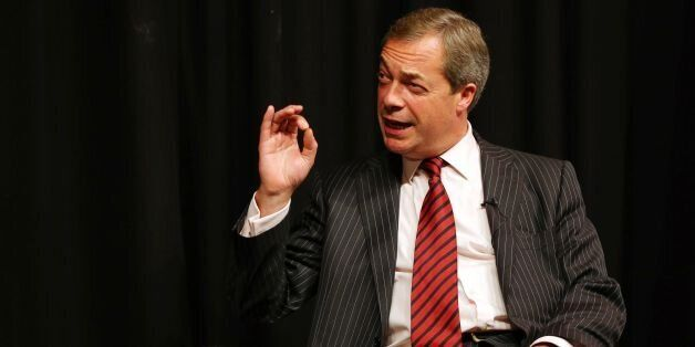 UK Independence Party Leader Nigel Farage during 'A beer and a fag with Farage' event at the Comedy Store...