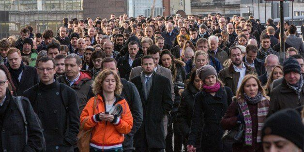 Crowds of commuters on London Bridge this