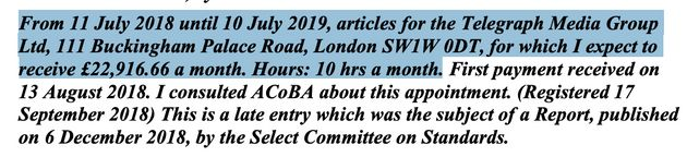 Johnson's current Telegraph contract runs until July 2019, according to his latest Commons declaration...