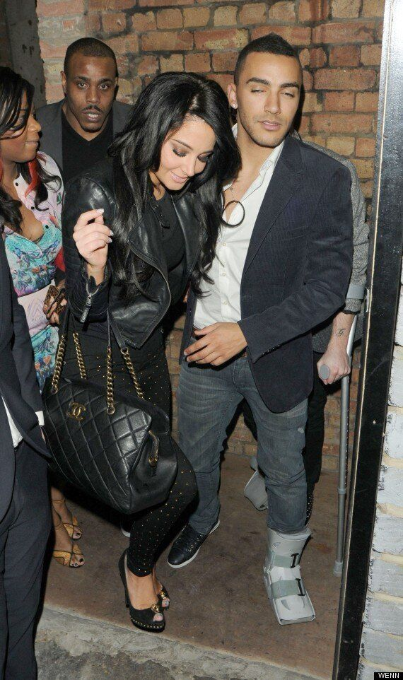 Tulisa Enjoys A Night Out With Her Injured Boyfriend Danny Simpson And PA Gareth Varey