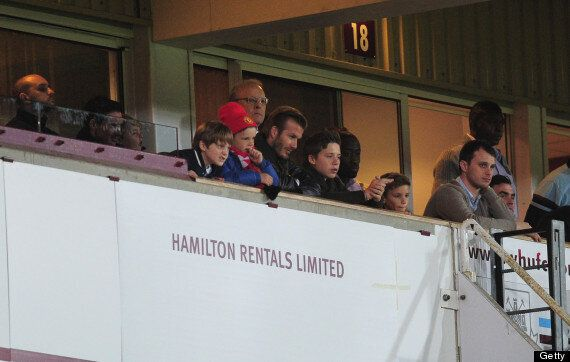 David Beckham Watches Manchester United With Sons