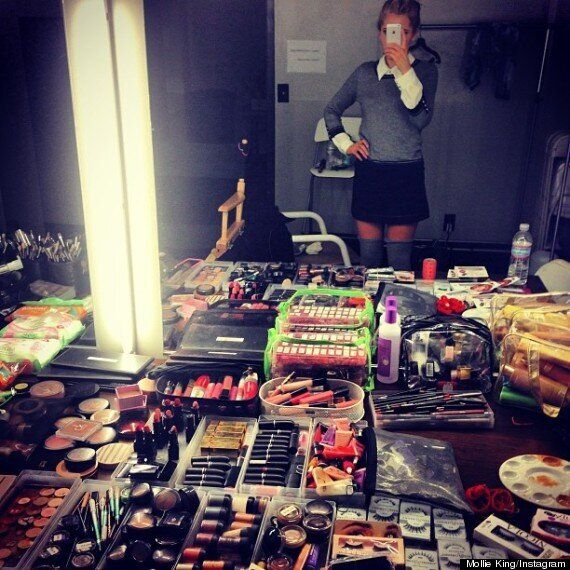 Mollie King Shares A Snap Of The Saturdays' Make Up Table