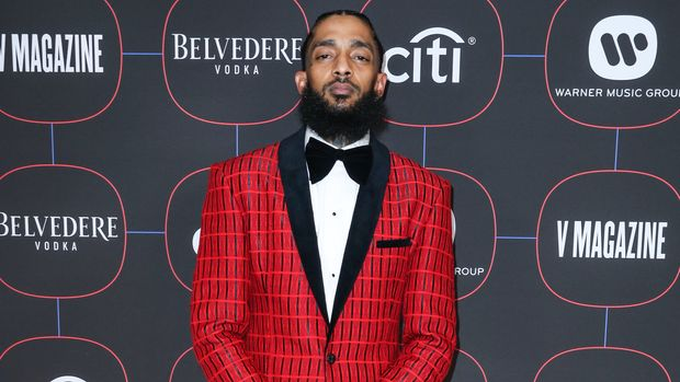 LOS ANGELES, CA, USA - FEBRUARY 07: Rapper Nipsey Hussle arrives at the Warner Music Pre-Grammy Party 2019 held at The NoMad Hotel Los Angeles on February 7, 2019 in Los Angeles, California, United States. (Photo by Xavier Collin/Image Press Agency/Sipa USA)