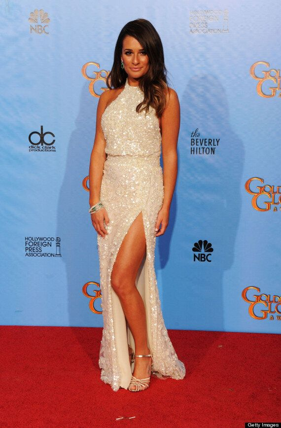Golden Globes 2013: Lea Michele Overdoes The Fake Tan As She Poses At Ceremony