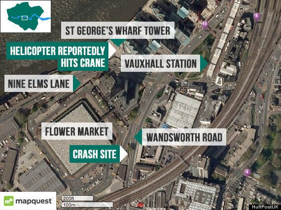 Helicopter Crashes Into Crane In Vauxhall, Central