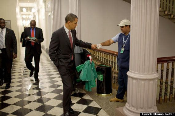 Barack Obama Fist-Bumps White House Cleaner, '36 Days To Win This'