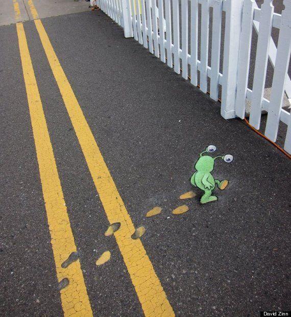 David Zinn's 3D Chalk Creatures: The Cutest Street Art