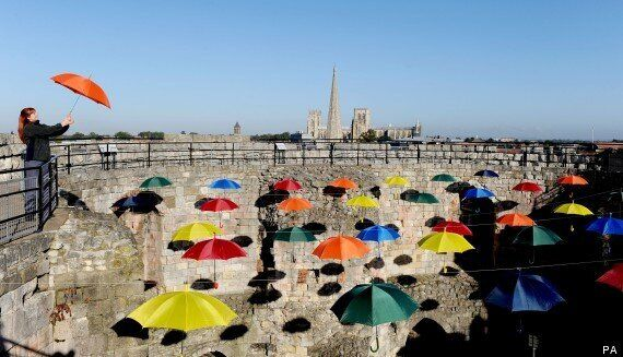 'The Umbrella Sky' Art Installation In York Pokes Fun At Rubbish British Weather With Multiple Coloured