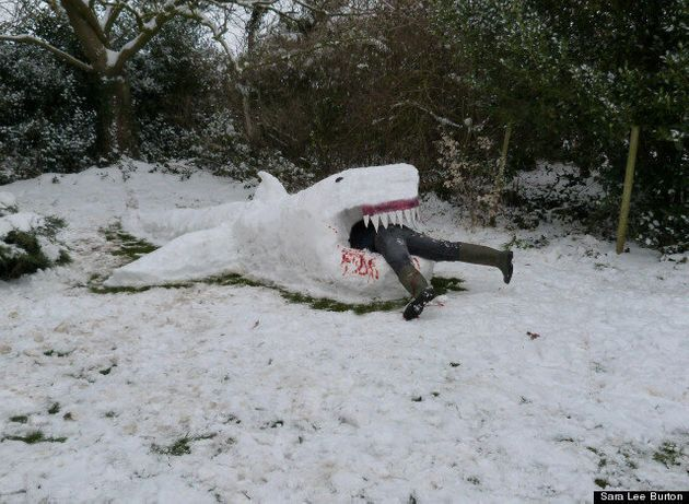 The Best Snow Sculpture? Jaws-Like 'Snow Shark' Appears In Derbyshire