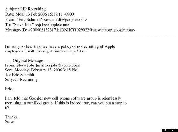 Secret Steve Jobs 'No-Hire Emails' Released In US Court