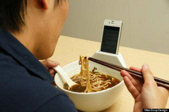 Anti-Loneliness Ramen Soup Bowl Has Built-In iPhone Dock