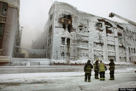 Burning Warehouse In Chicago Freezes As Firefighters Battle Blaze