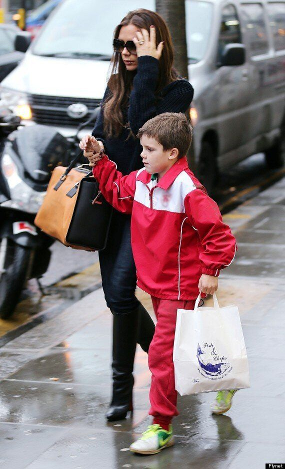Victoria Beckham And Son Cruz Pop Out For Some Fish And Chips. Yes, Really.