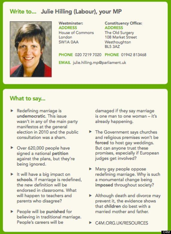 Coalition For Marriage Distributing 'Misleading' Gay Marriage Leaflets, MPs