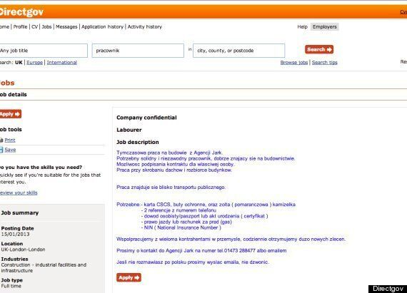 DWP Removes Jobs Advertised Only In Polish On DirectGov