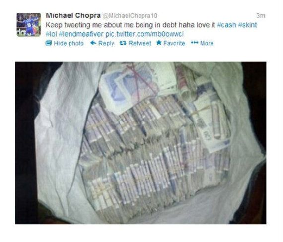 Michael Chopra Quits Twitter After Posting Picture Of Bag Full Of £20