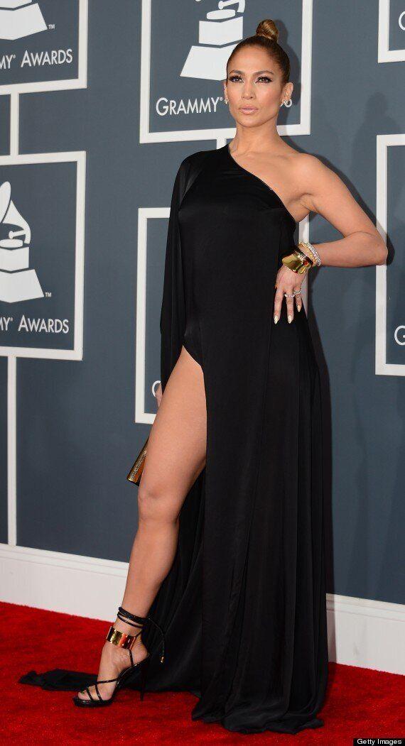 Grammys 2013: Jennifer Lopez Pulls The 'Angelina Jolie Leg' On The Red Carpet