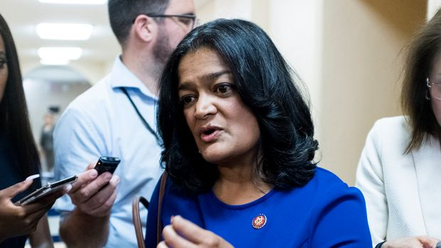 UNITED STATES - JUNE 5: Rep. Pramila Jayapal, D-Wash., speaks with reporters as she leaves the House Democrats caucus meeting in the Capitol on Tuesday, June 4, 2019. (Photo By Bill Clark/CQ Roll Call)