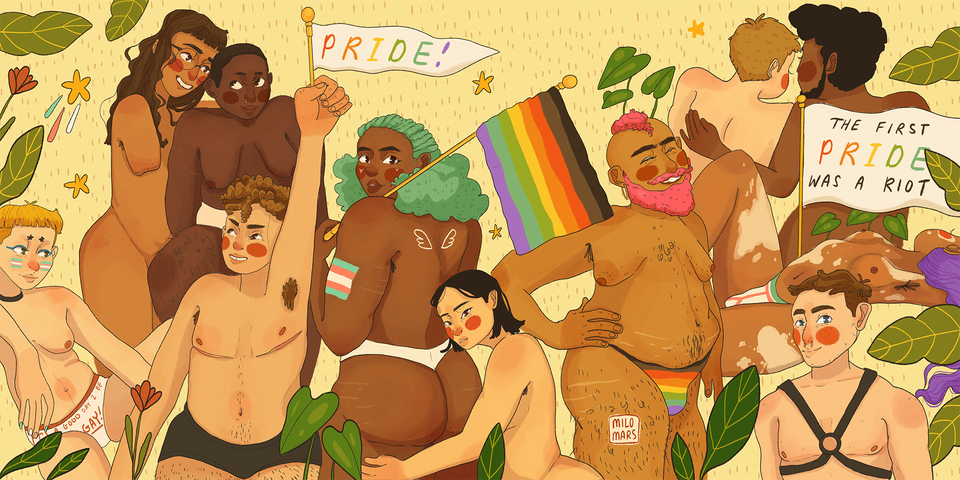 Milomars created this illustration for HuffPost in honor of Pride