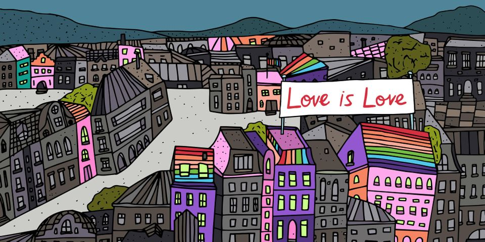 Jag Nagra created this illustration for HuffPost in honor of Pride