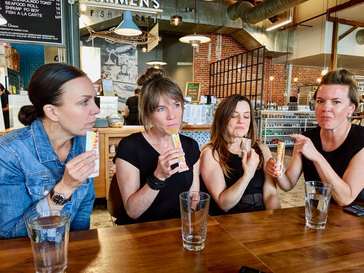 Erika Thomas (right) and her friends tasted 21 flavors of boozy pops.