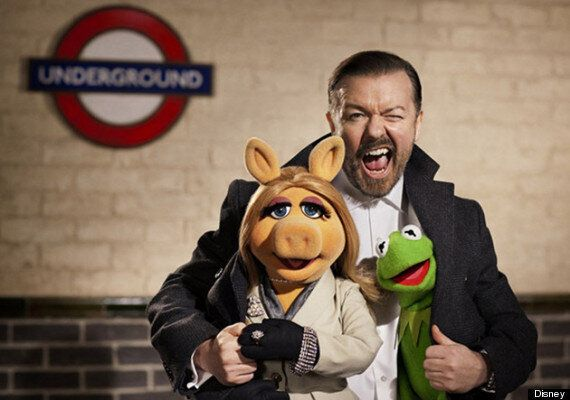 WATCH: Ricky Gervais Passes The Time With 'The Muppets' Co-Star Pepe The King
