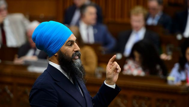 NDP Leader Jagmeet Singh stands during question period in the House of Commons on Parliament Hill in...