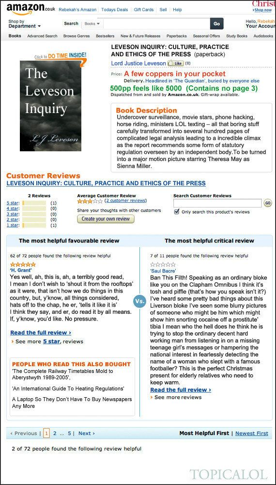 The Leveson Report Goes On Sale On Amazon