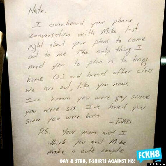 Dad's Touching Note To Gay Son Nate Worried About Coming Out Goes Viral