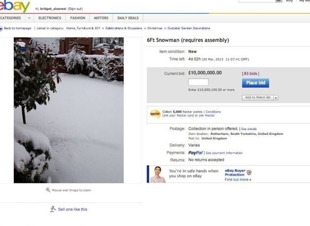Snowman (Unassembled) Up For Auction On eBay, As Snow And