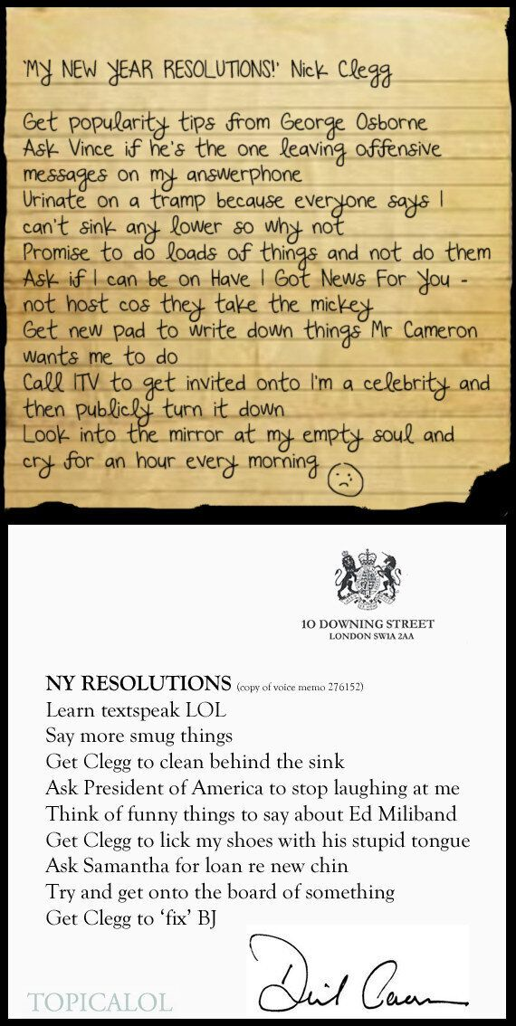 Revealed! David Cameron And Nick Clegg's New Year's