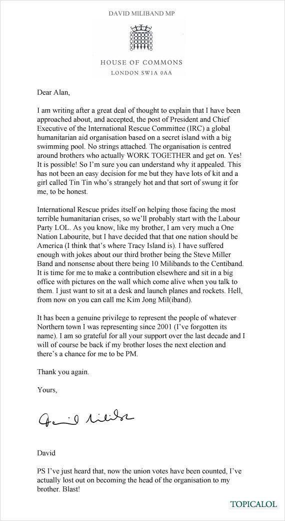 David Miliband's Resignation Letter