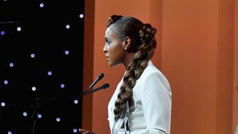 BEVERLY HILLS, CA - JUNE 12:  Issa Rae, wearing Max Mara, accepts the Women in Film Emerging Entrepreneur Award onstage at the 2019 Women In Film Annual Gala Presented by Max Mara with additional support from partners Delta Air Lines and Lexus at The Beverly Hilton on June 12, 2019 in Beverly Hills, California.  (Photo by Stefanie Keenan/Getty Images for Women In Film)