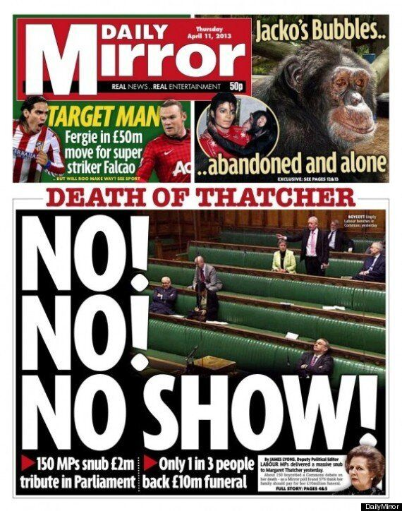 The Sun And Daily Mirror Both Highlight Labour Thatcher 'Snub', For Totally Opposite