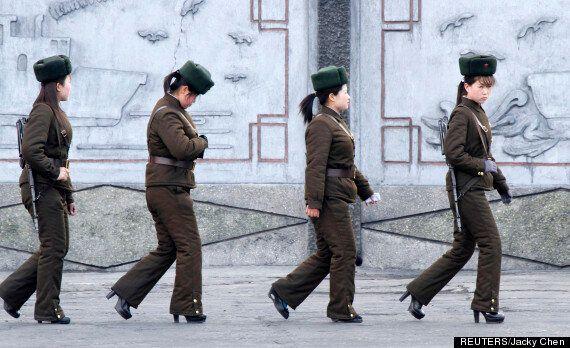 North Korea Female Soldiers In High Heels Look Miserable