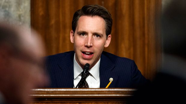"FILE - In this , Feb. 29, 2019 file photo, Senate Armed Services Committee member Sen. Josh Hawley, R-Mo., speaks during a Senate Armed Services Committee hearing on Capitol Hill in Washington. Hawley is taking on the tech industry, including apps and tools aimed at children. Hawley last week introduced legislation that would ban ""pay-to-win"" apps like Candy Crush that he said are targeted at children. (AP Photo/Carolyn Kaster, File)"