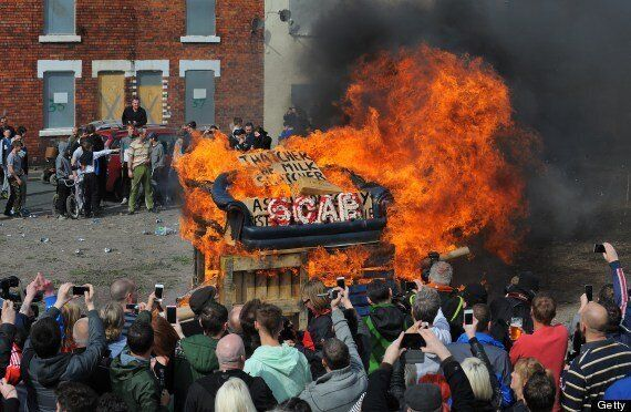 Thatcher Funeral: Goldthorpe Former Miners Burn Effigy Of 'Thatcher The Scab'