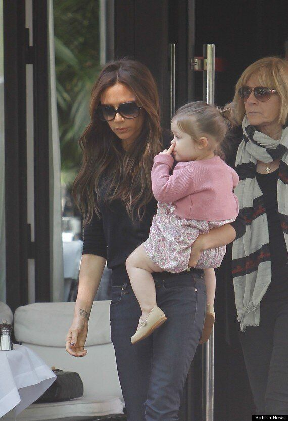 Lost Something Harper? Victoria Beckham's Daughter Caught Picking Her Nose On Lunch Trip With