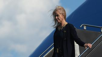 Kellyanne Conway, counselor to US President Donald Trump, steps off Air Force One upon arrival at Newark Liberty Airport in Newark, New Jersey on June 9, 2017.  Conway is traveling with President Trump to his Bedminster, New Jersey golf club to spend the weekend. / AFP PHOTO / MANDEL NGAN        (Photo credit should read MANDEL NGAN/AFP/Getty Images)