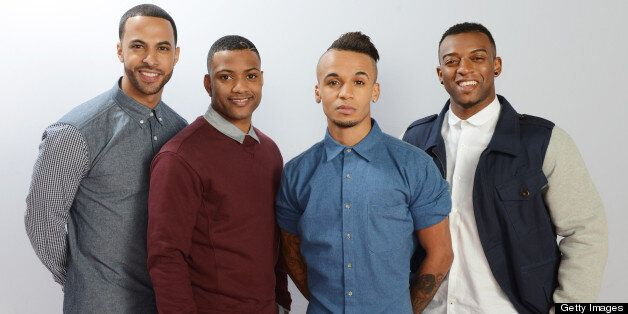 LONDON, ENGLAND - DECEMBER 08: (UK TABLOID NEWSPAPERS OUT) (L-R) Marvin Humes, JB Gill, Aston Merrygold...