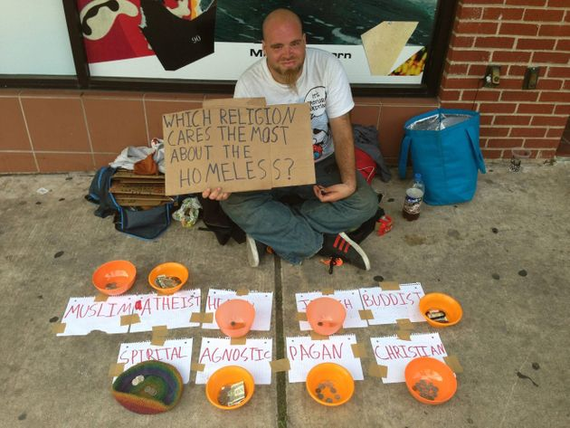 'Which Religion Cares Most About The Homeless?': Man Divides Begging Bowls By Faith
